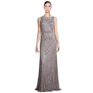 Theia Metallic Sleeveless Sequin Beaded Evening Gown Dress