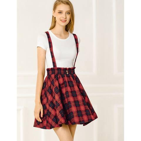 Allegra K Women's Plaid Button Decor Skater Suspender Skirt