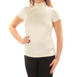 RALPH LAUREN $70 Womens New 1043 Ivory Short Sleeve Turtle Neck Casual Top S B+B