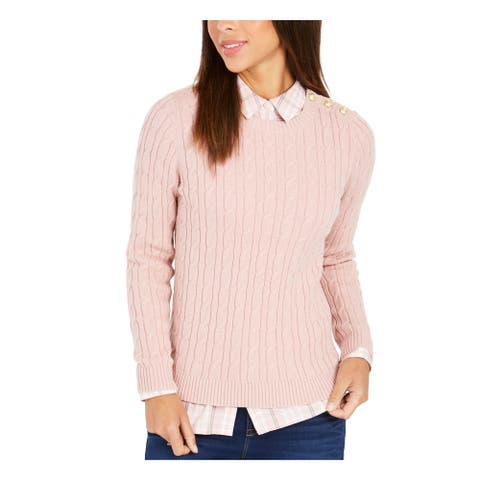 CHARTER CLUB Womens Pink Long Sleeve Jewel Neck Sweater Size L