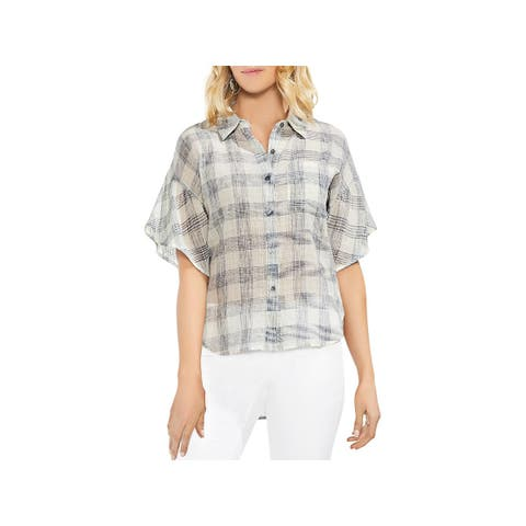 Vince Camuto Womens Button-Down Top Plaid Short Sleeves