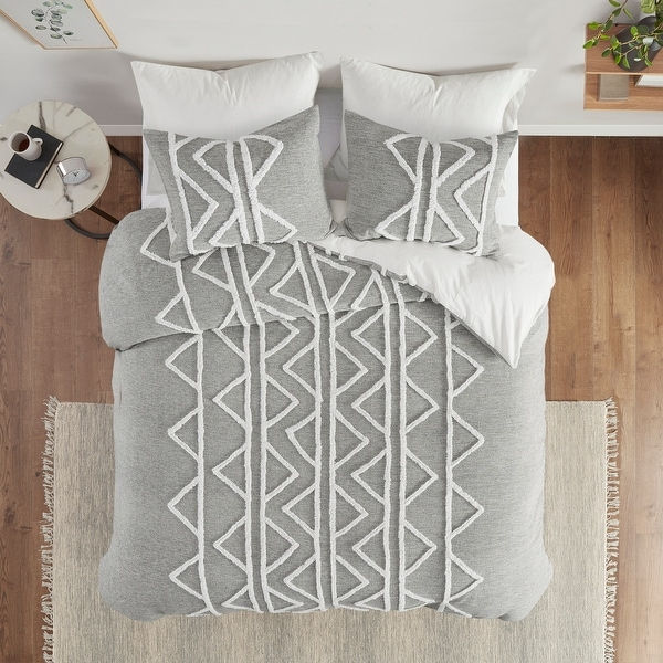 Hayes Gray Chenille Cotton Duvet Cover Set by INK+IVY. Opens flyout.