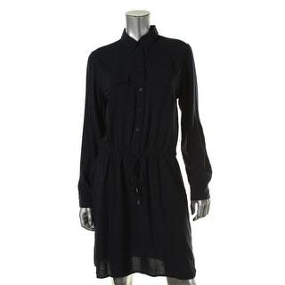 Lauren Ralph Lauren Womens Petites Shirtdress Long Sleeve Collared