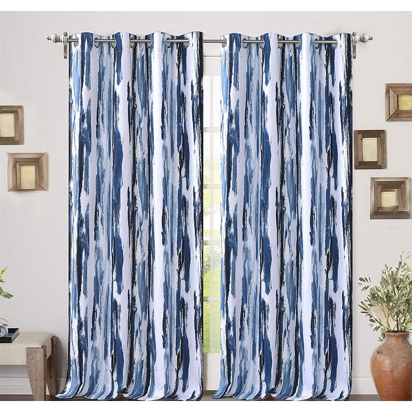 Porch & Den Nova Ink Blue Brush Pattern Blackout Curtain Panel Pair. Opens flyout.