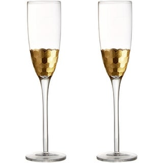 Fitz and Floyd Gold Daphne Wine Glasses Kitchen Drinkware Gold
