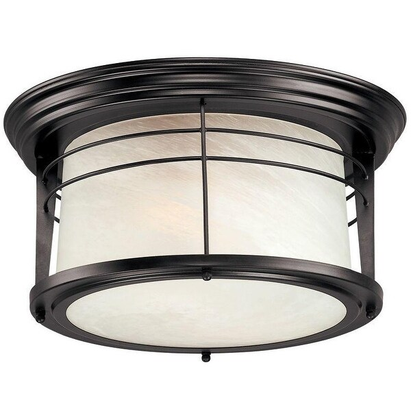 Westinghouse 6674648 Exterior Flush Ceiling Light Fixture, Bronze, Glass
