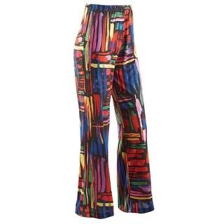 Caribe Women's Colorful Print Travel Pants - Wide Leg Elastic Waistband