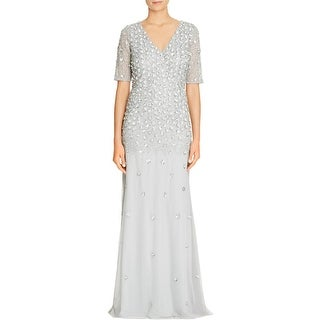Adrianna Papell Womens Formal Dress Beaded Sequined