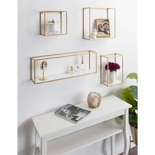 Kate and Laurel Mallory Wood and Metal Wall Shelf Set - 4 Piece