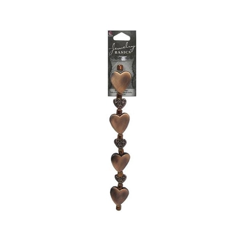 "Cousin Bead Strand 6.5"" Metal/Acrylic Hearts Cop"
