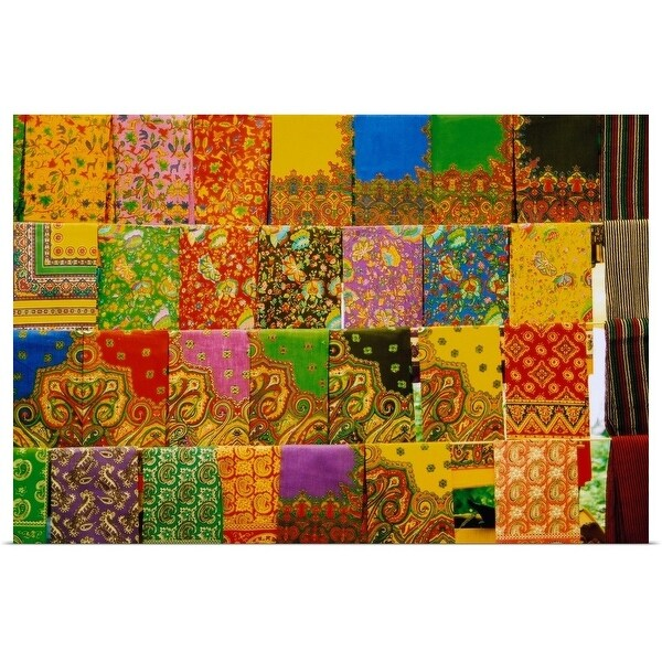 """""""Display of brightly-colored fabric"""" Poster Print"""