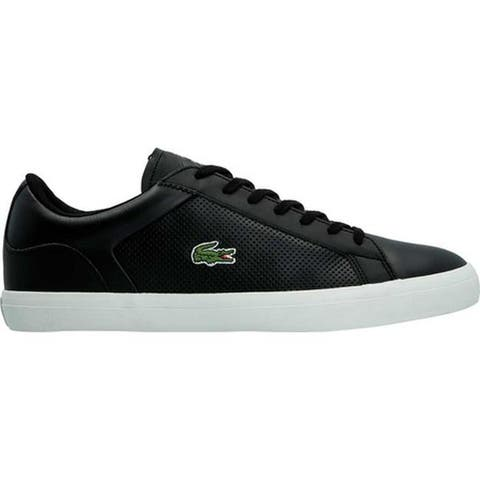 a195e3eae Lacoste Men s Lerond 1 Sneaker Black Black Leather Synthetic ...