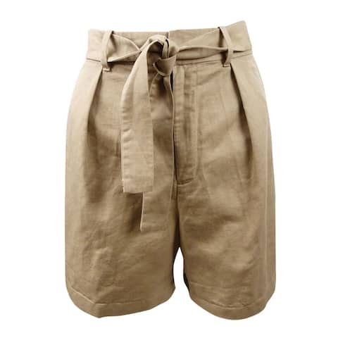 Polo Ralph Lauren Women's Pleated High-Rise Shorts (10, Tan) - Tan - 10