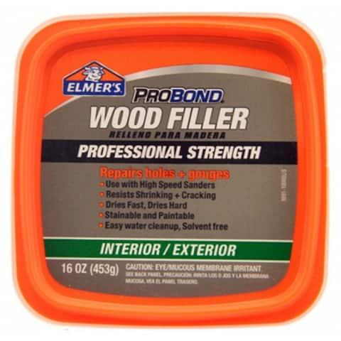 Elmer's P9891 ProBond Professional Strength Interior-Exterior Wood Filler, 1 Pt