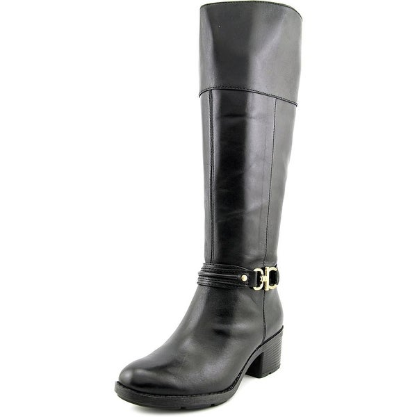 Bandolino Ulla Wide Calf Women Round Toe Leather Black Knee High Boot