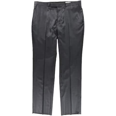 Kenneth Cole Mens Flat-Front Grid Dress Pants Slacks, Black, 44W x 37L - 44W x 37L