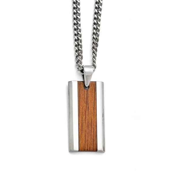 Chisel Stainless Steel Polished Red/Orange Wood Inlay Enameled Necklace - 20 in