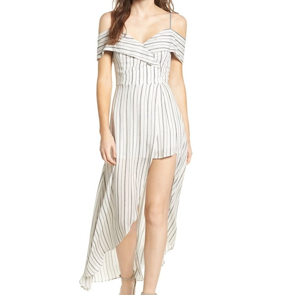 fec767caf61 Shop Soprano White Womens Size Large L Striped Cold-Shoulder Romper - Free  Shipping On Orders Over  45 - Overstock.com - 22478314
