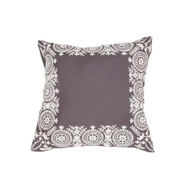 "18"" Slate Gray and Misty White Floral Pattern Decorative Throw Pillow"
