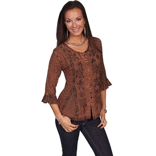 Scully Western Shirt Womens Honey Creek 3/4 Sleeve Embroidery HC67