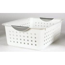 "Sterilite 16248006 Storage Basket, 13.8"" x 10.8"" x 5"", White"