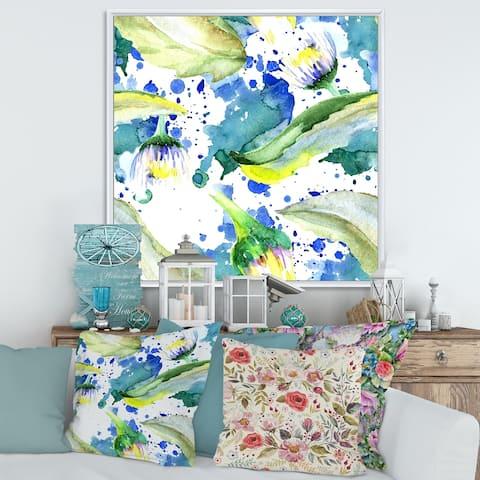 Designart 'Daisy Flowers Aquarelle Impression I' Traditional Framed Canvas Wall Art Print
