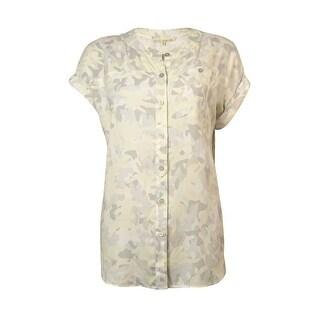 Rachel Roy Women's Crepe Camo Print Blouse - antique white combo - s