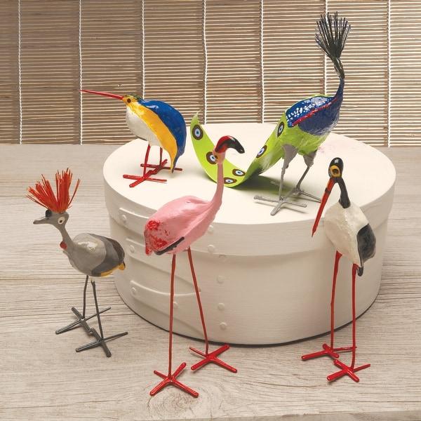 Mbare Seedpod Bird Figurines - Set of 5 Hand Made Exotic Birds from Zimbabwe - 6 in.