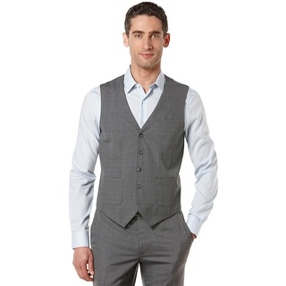 Perry Ellis Vest Alloy Grey XXL 2XL Windowpane Travel Luxe Non Iron