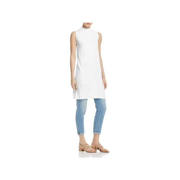 b75ad912d4 Shop Eileen Fisher Womens Petites Tunic Top Tencel Sleeveless - Free ...