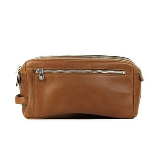 93dd21eaac67 Shop Brunello Cucinelli Mens Cognac Brown Leather Wash Bag - Free Shipping  Today - Overstock - 22995168