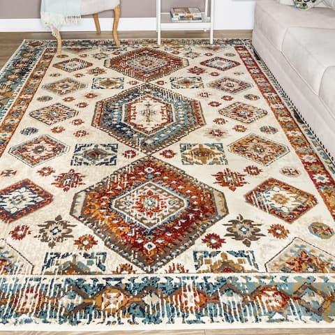 Miranda Haus Kiernan Aztec Geometric Sangria Indoor Area Rug