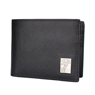 Versace Black Saffiano Leather Wallet With Money Clip - S