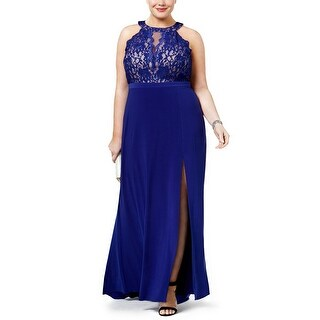Nightway Plus Size Sequined Lace Halter Evening Gown Dress Royal/Nude - 14W