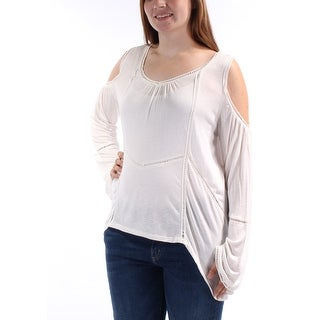 Womens Ivory Long Sleeve Scoop Neck Hi-Lo Top Size XL
