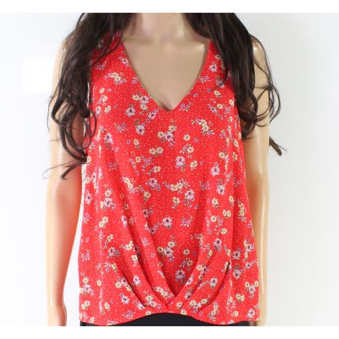 Lush Red Women's Size Large L Floral Print High Low Knit Top