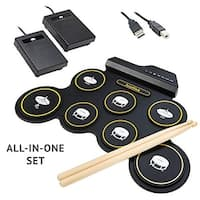 Ivation Portable Electronic Drum Pad - Built-In Speaker (DC Powered) - Digital Roll-Up Drum Practice Kit With 2 Foot Pedals