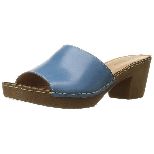 White Mountain Womens Morsel Leather Open Toe Casual Slide Blue Size 100