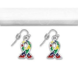 Autism and Aspergers Awareness Ribbon Earrings - Hanging