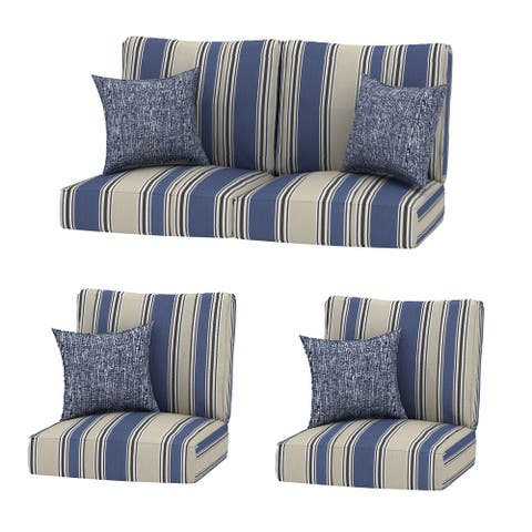 4PC Chat Stripe Outdoor 24x24 Replacement Cushions with Pillows - 4PC Chat