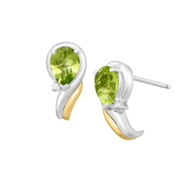 1 1/2 ct Natural Peridot Earrings with Diamonds in Sterling Silver & 14K Gold