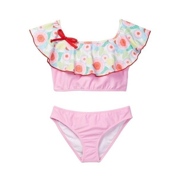 e86e07a1738 Azul Little Girls Pink Sweet Jane Peasant Ruffle Bow Bikini 2 Pc Swimsuit