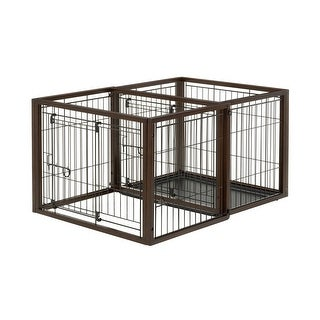 "Richell Flip To Play Pet Crate Small Brown 31.9"" x 23.4"" x 24.4"