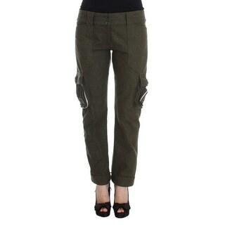 Ermanno Scervino Ermanno Scervino Green Wool Blend Loose Fit Cargo Pants