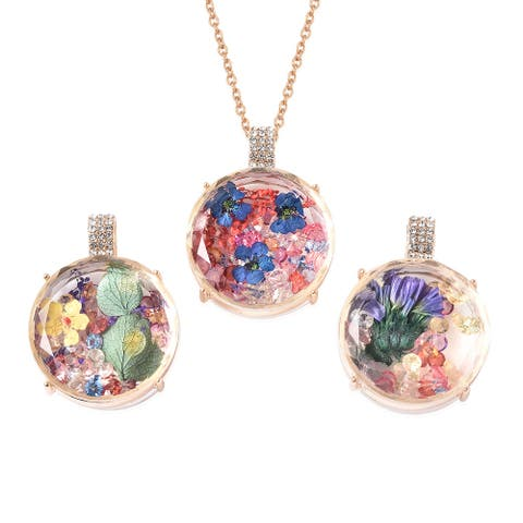 Glass Multi Color Crystal Set of 3 Necklace Pendant Size 24 In - Necklace 24''