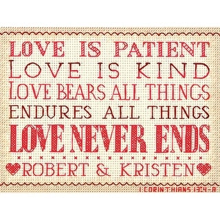 """Love Is Patient Mini Counted Cross Stitch Kit-7""""X5"""" 14 Count"""