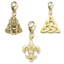 Julieta Jewelry Fleur De Lis, Buddha, Celtic Knot 14k Gold Over Sterling Silver Clip-On Charm Set