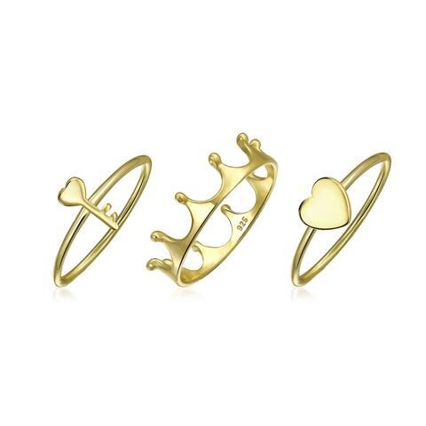 Princess Crown Heart Key Midi Ring Set 14K Plated Sterling Silver 1MM