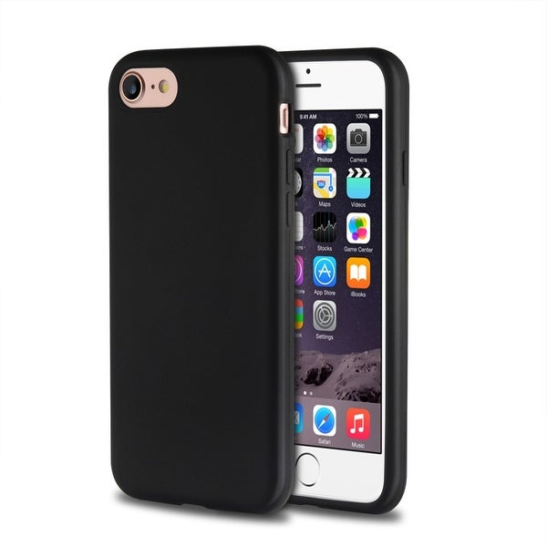 Insten Black Silicone Skin Gel Rubber Case Cover for Apple iPhone 7