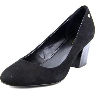 Calvin Klein Kasey Women Round Toe Suede Black Heels